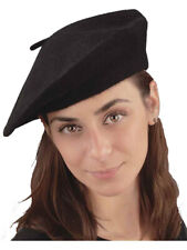 Adult Black Felt French Beatnik Cap Artist Tam Beret Hat Costume Accessory