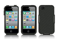 BLACK CARBON FIBER HYBRID HARD CASE COVER HOLSTER BELT CLIP FOR IPHONE 4/4S