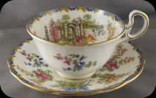Aynsley Stone Fence Tulips Hollyhocks, Floral Cup & Saucer 6904