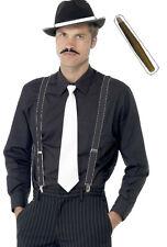AL CAPONE INSTANT GANGSTER KIT HAT MOUSTASH CIGAR & TIE MOB FANCY DRESS TRILBY