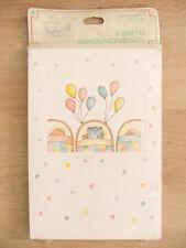 New Hallmark Vintage Cute Baby Animals 8 Birth Announcements & Envelopes