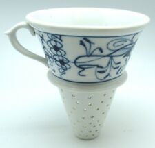 Vintage 1920 Meissen Blue And White Onion Porcelain Large Strainer Funnel
