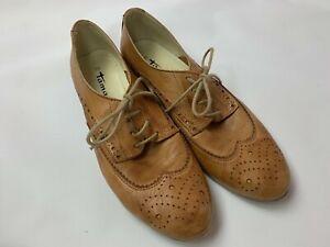 Tamaris Camel Brown Leather Wingtip Oxford Shoes Women's 39 8 8.5