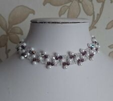 Pearl & bicone Beaded CHOKER necklace art deco style WHITE purple glass 15""