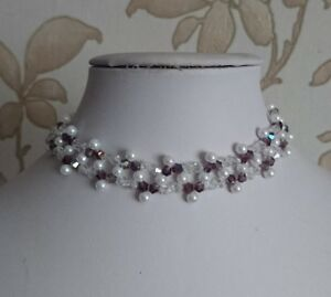 """Pearl & bicone Beaded CHOKER necklace art deco style WHITE purple glass 15"""""""