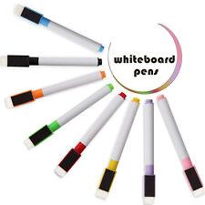 8pcs Magnetic Shaped white board marker colour pen set dry wipe markers eraser