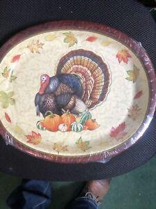 "Thanksgiving Harvest Turkey  8 Ct 10 x 12"" Oval Banquet Platters Plates"