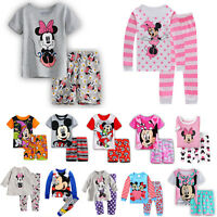 Kids Girls Boys Disney Minnie Mouse Pajama 2PCS Sleepwear T-Shirt Shorts Outfits