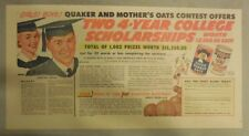 Quaker Cereal Ad: Win Two 4-Year College Scholarships! ! 1930's 7.5 x 15 inches
