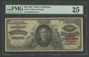 FR318 $20 1891 SILVER CERT PMG 25 CHOICE VF WLN455