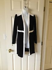 Chicos Jacket Travelers Black & White Colorblocked Long Duster Size 0