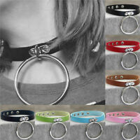 Punk Gothic PU Leather Cord Charm O-Ring Choker Belt Collar Chain Necklace Hot