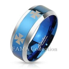 FAMA Iron Cross Stainless Steel Blue IP Center Band Ring Beveled Edge Size 9-14