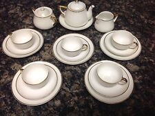 20s Meito White Wedding Childs Play House Tea Pot Cremer Sugar Cups Saucers Plat