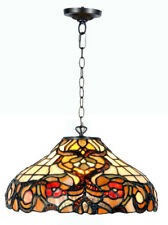 Tiffany Style Pendant Ceiling Light Brown and Orange Stained Glass