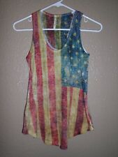 Yetts Los Angeles Tank Top Womens Sz Small S Scoop-Neck U.S.A. Flag Graphic Euc