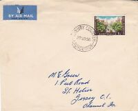 APH148) Australia 1956 Olympics on Christmas card size Airmail cover to Jersey