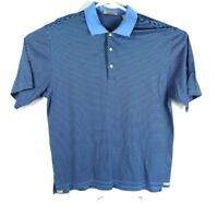 Peter Millar Men's Large Double Mercerized Cotton Blue Short Sleeve Polo Shirt