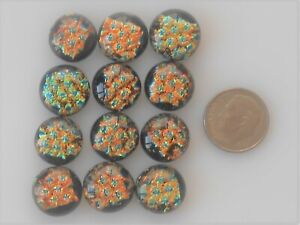 dichroic glass cabochon lot of 12 fused COE 90 cab hand made crafted