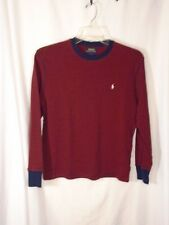 POLO Ralph Lauren thermal long sleeve shirt navy blue & red sm stripes L men