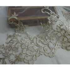 1 Yard Light Gold Embroidery Ivory Mesh Lace Trim Wedding Dress Clothes Applique