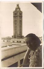 Woman Leaving HONOLULU HI Royal Hawaiian Hotel Aloha Clock Tower Vintage Photo