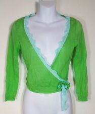 Juniors Green Blue Lace Thin Cardigan Sweater Top Fits XS Deep V Neck