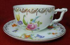 "ROSENTHAL china MEISSEN white pattern Cup & Saucer Set Motif #2 2-1/8"" x 3-1/2"""
