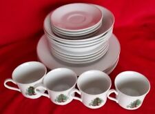 Vintage Christmas Dinnerware Set 20 Pc Porcelain Gold Rim Decorated Tree Present