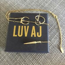 Luv AJ Pavé Tusk Lariat Necklace & Open Crescent Ring Set NEW $190 Gold Moon