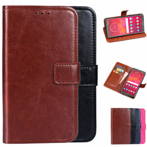 PU Leather Wallet Card Flip Stand Cover Case For Motorola Moto Z3 / Z3 Play