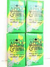 Bath Body Works Apple Blossom Lavender Shea Butter Milled Bar Soap, New x 4