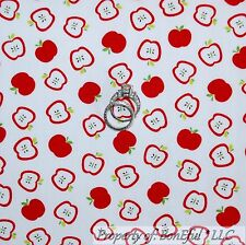BonEful Fabric Cotton Quilt VTG White Red Green Leaf Candy APPLE Tree Farm SCRAP