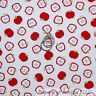 BonEful Fabric FQ Cotton Quilt White Red Green Leaf Candy APPLE Tree Calico B&W