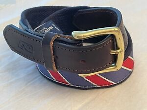 vineyard vines belt 36 navy red leather preppy whale nautical