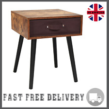 Modern Bedside/Sofa Table Fabric Drawer Storage Cabinet Pine Wood Nightstand