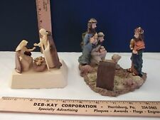 2 SMALL NATIVITY SETS: PLASTIC & RESIN