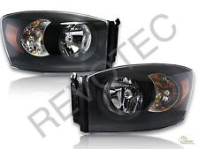 2006-2008 Dodge Ram 1500 2500 3500 Pickup Black Housing Headlights RH & LH