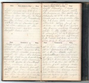 1893 Handwritten Diary Steamboat Captain Underhill Port Richmond Staten Island