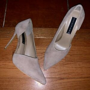 $119 NEW Steve Madden Women's 7.5 M Taupe Suede Wrenn Heels Pointy Pumps D'orsay