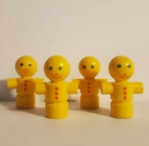 4 Tinker Toy VINTAGE Wooden Part Replacement YELLOW FIGURE Man Plastic Piece