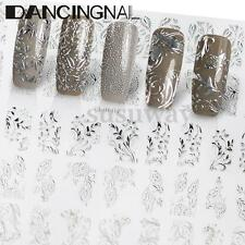 60 Silver 3D Flower Nail Art Stickers Decals Decorations Transfers Design Form