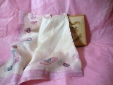 Art Deco Silk Handkerchief Pink Edge Atomic Design Folded Free Shipping