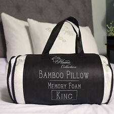 Sweet Home Hypoallergenic Bamboo Memory Foam Pillow King 2 Pack w/Carry Bag