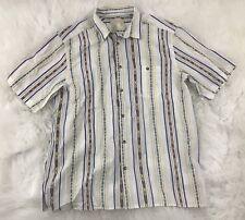 Territory Ahead Men White Aztec Print Cotton S/S Button Front Camp Shirt Sz XL