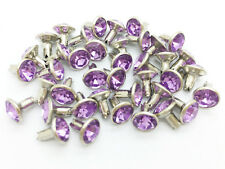 40Sets 8mm Light Purple Lilac Synthetic Crystal Rhinestone RIVETS Leather RV6128