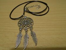 Dream Catcher Pendant Silver Charm Necklace Black Rope Vintage Handmade Gift UK