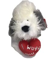 Aurora I Wuff you English Sheep Dog Red heart Grey White plush Stuffed Animal