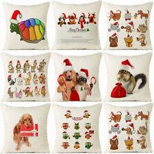 Christmas Animal Cotton Linen Cushion Cover Pillow case Sofa Home Decor