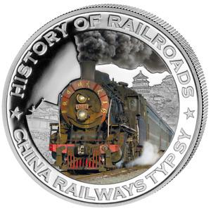 Liberia 2011 $5 History of Railroads - China Railways Typsy Proof Silver Coin